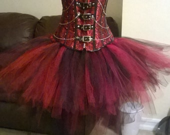 Studded buckle corset w/tulle bustle, Steampunk Corset w/bustle, burlesque corset.