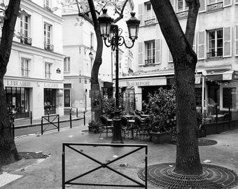 Paris black and white photography, Paris cafe terrace, Paris photography, black and white photo, Paris square, Paris decor, fine art print