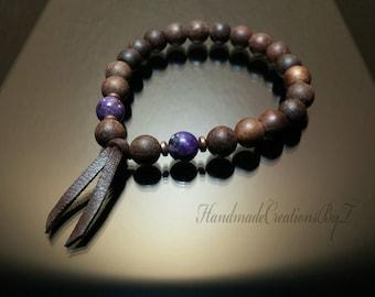 Mens Sandalwood Bracelet, Purple Lepidolite Gemstone Bracelet, Leather Wrist Mala, Chakra Bracelet, Healing Bracelet, Fragrance