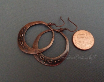 Copper Earings, Copper Hoop Earings, Jewelry