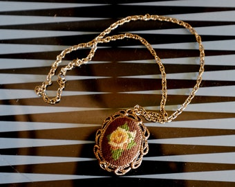SALE!!!! Was 13 now 7!!! Beautiful Embroidery Necklace with Mirror