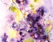 Watercolor Painting Art Print of Lilac Flowers, Abstract Watercolour Art, Purple Green