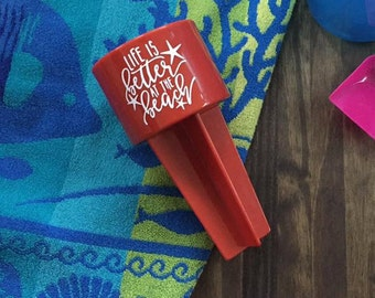 Sand Spiker Life is Better at the Beach Red Drink Holder Summer Vacation