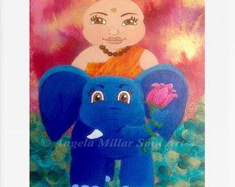 Buddha print - Nursery art - Kids bedroom art - Nursery decor - Buddha wall art - Baby Buddha - Baby Buddha and elephant - Kids gift idea