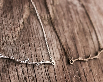 Delicate branch necklace, silver plated and antique brass chain