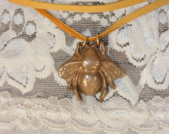 Bronze Fly Choker/Long Necklace/Lariat on Gold Deerskin Leather