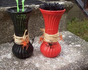 Orange and Black Vintage vase set of 2, Halloween vases Halloween decor, hand painted orange black Vintage Hoosier Glass, Painted vases
