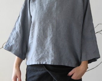 Oversize Heavy Linen Top - Grey