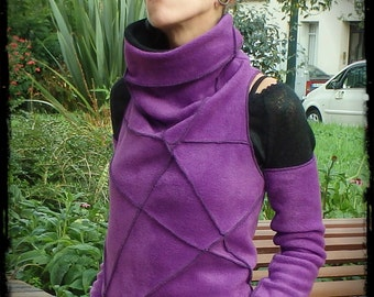 Purple collar polar sweater amount knotted at the back and detachable sleeves
