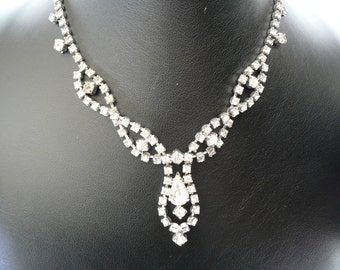 Sparkling Continental Crystal Clear Rhinestone Necklace