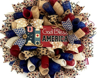 Patriotic,Patriotic Wreath, Wreath, Americana, Americana Wreath, 4th of July, Patriotic Decor, 4th of July Wreath, God Bless America