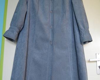 Vintage blue gray alcantara/suedine coat / jacket, seventies, romantic, size M/L