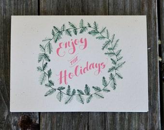 Enjoy The Holidays Christmas Wreath Card Set, Holiday Card 10 Pack