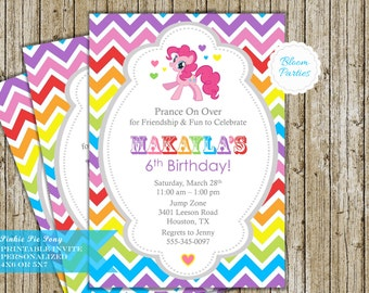 My Little Pony Invitation Pinkie Pie Party Rainbow Chevron Girl Birthday Invite Digital Printable DIY, 5x7 or 4x6