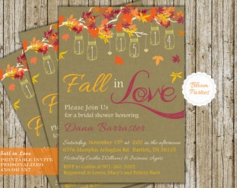 FALL IN LOVE Bridal Shower Invite Digital Printable Fall Bridal Shower Invitation Falling in Love Wedding Shower with Hanging Mason Jars