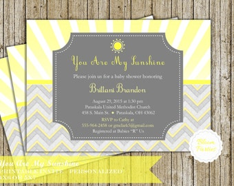 You Are My Sunshine Invitation - Baby Shower Invitation, Baby Shower Invite, Digital, Printable - Chevron, Yellow and Grey, Gray