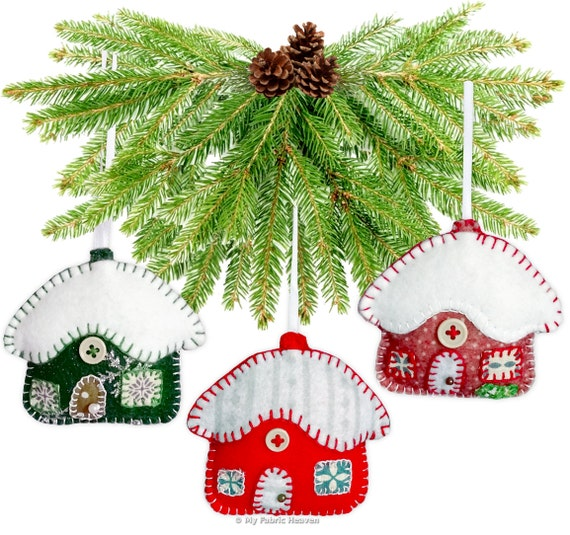 Snowy Cottage Christmas Decoration Paper Sewing PATTERN
