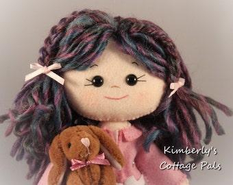 Gingermelon felt doll - Bailey with Bunny felt doll - Purple hair doll - girl room decoration