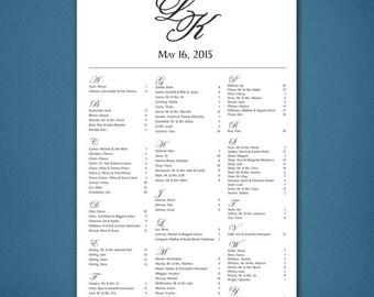 PRINTABLE Wedding Seating Chart • Monogram Seating Chart • Alphabetical Seating Chart • Easy to Read Seating • Seats Plain Modern Poster