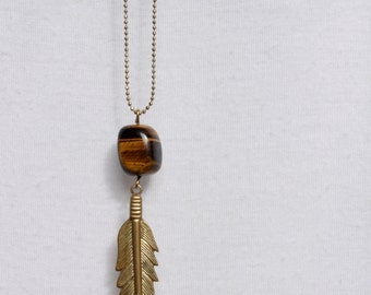 Gold Feather Tigers Eye Necklace