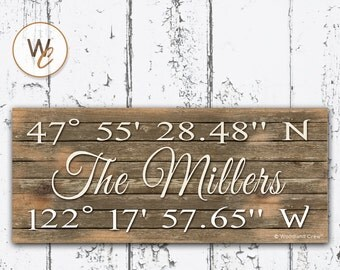 """Latitude Longitude Sign, Personalized 6""""x14"""" Rustic Sign, GPS Coordinates, Home Location, Housewarming Gift, Office Sign, By Woodland Crew"""