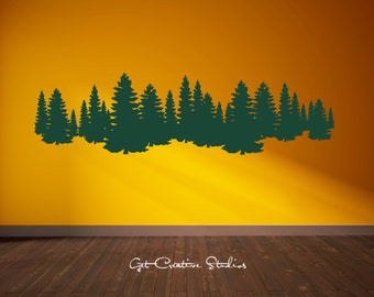 Forest Decal Pine Tree Forest Wall Decal Pine Trees Decal Alpine Wall Decal Ski Decal Mountain Forest Decal Forest Scene Forest Mural Lodge