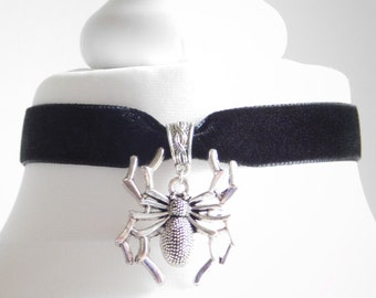 16mm Black Velvet Silver Spider Choker Necklace - Victorian-Gothic–Wiccan-Halloween