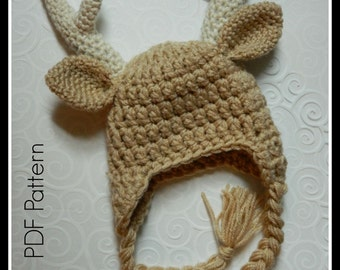 Crochet Baby Buck Antler Hat {PDF PATTERN ONLY}