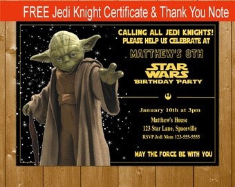 Yoda Invitation, Star Wars Invitation Star Wars Yoda Invitation, Star Wars Party Invitations, Free Thank You Note