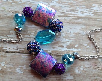 Purple Glass Statement Necklace, Beaded Necklace, Beadwork Necklace, Jewelry, Necklace, For Her