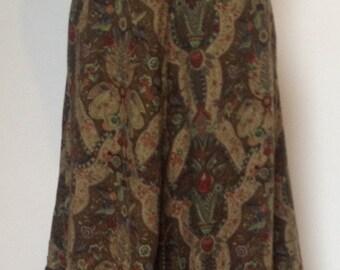 1970s Folk, Arts & Crafts Style Print, Midi Skirt, Size 10-12 (uk) by 'Betty Barclay'