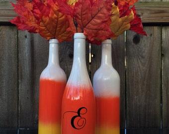 Custom Set of Candy Corn Wine Bottles
