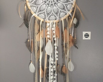 Dream catcher crocheted Tan and beige lace Dreamcatcher