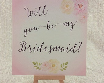 Pretty Floral Will You Be My Bridesmaid Card