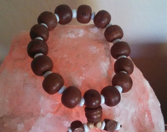 Wood bead Puka Shell bracelet