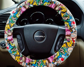Super Mario Brothers Nintendo Characters Padded Steering Wheel Cover Car Decor Cute Car Accessories