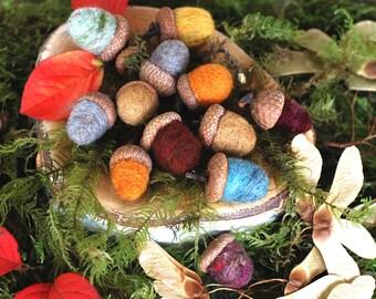 Needle Felted Acorns, Autumn Acorns, Nature Decor, Autumn Decor,Table Decor, Nature Gift