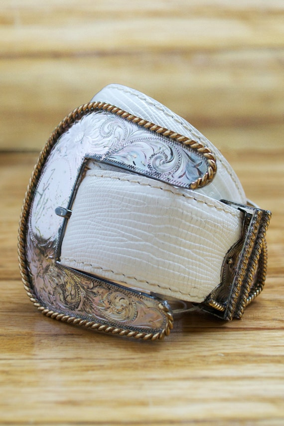 Vintage Al Beres White Leather Sterling Silver Leather Cowboy Belt
