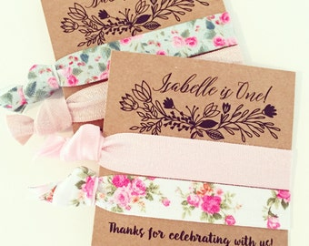 Floral Boho Birthday Party Hair Tie Favors | Custom Wild One 1st Birthday Party Favors, Boho Bohemian Birthday Favors, Garden Party Birthday