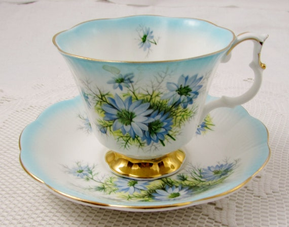 Royal Albert Blue Tea Cup And Saucer With Blue Flowers