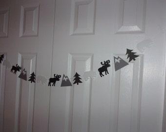 Moose, Bear, Mountain, Tree Garland - Medium & Charcoal Grey, Black, White Cardstock Paper Banner Baby Shower, Birthday Party Hanging Decor