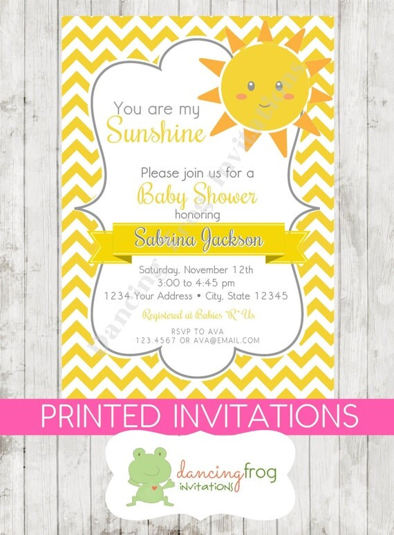 you are my sunshine baby shower invitations printed sunshine baby