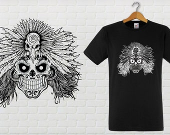 SKULL Mexican Tee shirt adjusted Cup, male or female.