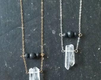 Lava Bridge & Quartz Essential Oil Necklace Diffuser --- Lava Rock Aromatherapy Jewelry pendant with Quartz Crystal