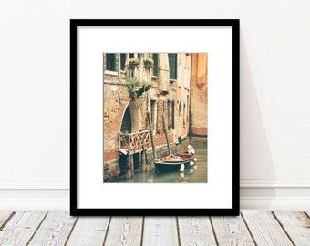 Italy Print, Venice Photography, Travel Photography, Fine Art Print, Europe Wall Art, boat, canal, balcony, Architecture, Europe Wall Art