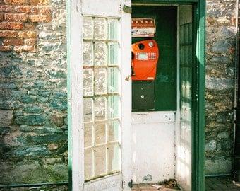 Ireland Photography, Green Phone Box, Telefon Box, Irish Telephone, vintage, Ireland Print, Irish Decor, Travel Photo, brick red, Wall Art