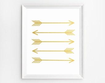 Gold Wall Art, Arrow wall Decor, Gold Arrow Art Print, Arrow Print Arrow Wall Art, Arrow printable art Arrow Poster Arrow wall decor nursery