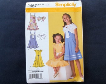 Girls Sleeveless Dress or Sundress Uncut Pattern with Variations & Jacket, Simplicity 2467, Size 3, 4, 5, 6