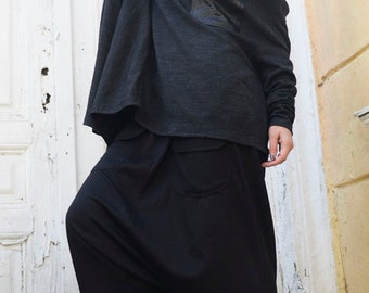Black Loose Harem Pants / Maxi Pants with Large Pockets / Drop Crotch Oversize Pants / Woman Black Pants  by METAMORPHOZA