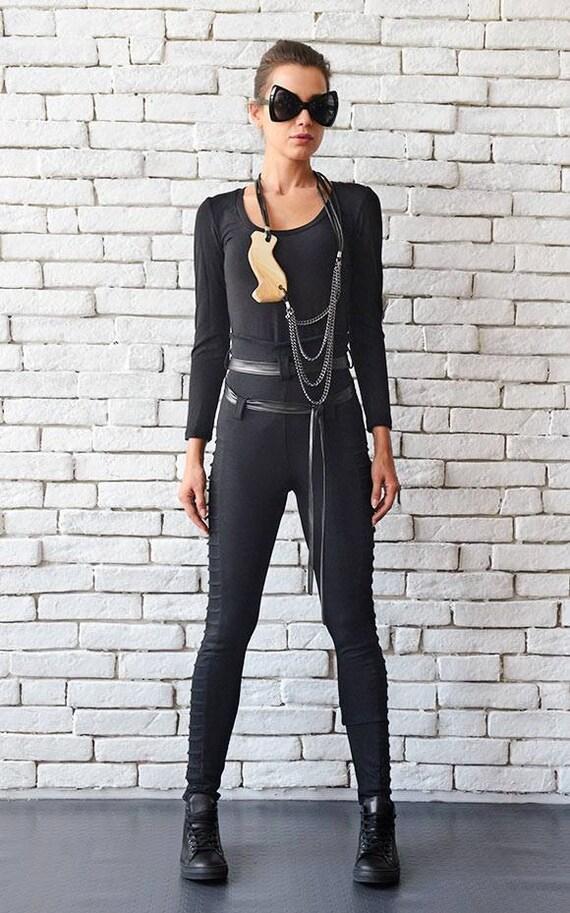 Extravagant Black Leggings, Casual Long Black Goth Pants